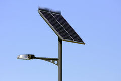 Solar powered panel street light Stock Photo