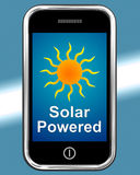 Solar Powered On Phone Shows Alternative Energy And Sunlight Stock Photography