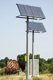 Solar powered railway crossing. A view of two large solar panels used to power signals and safety equipment associated with a railroad crossing Stock Image