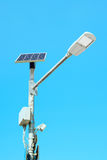 Solar powered street lamp on blue sky background Royalty Free Stock Photo