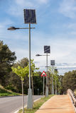 Solar powered street lamps Royalty Free Stock Photo