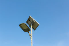 Spotlight. Solar powered street light with blue sky royalty free stock images