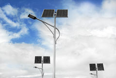 Solar powered street lights Stock Photo