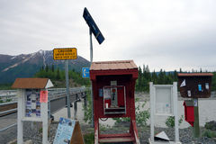 A solar powered telephone in alaska Stock Photography