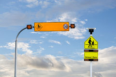 Solar powered traffic signs ,speed warning sign in a school zone Stock Image