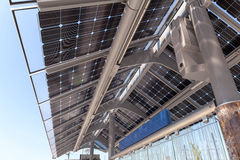Solar Powered Train Station in Portland Oregon. Solar Powered Public Transportation Train and Bus Station in the City of Portland Oregon Stock Photography