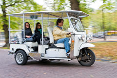 Solar powered tuc tuc at full speed Royalty Free Stock Images