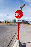 Solar Powered 3-Way Traffic Stop Sign Stock Photo