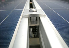 Solar PV Panel Clamp. And Spacer stock photography