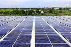 Solar PV Rooftop System Countryside Background Stock Images