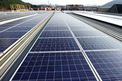 Solar PV Rooftop System Industrial Background Stock Photos