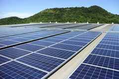 Solar PV Rooftop System Mountain Background Royalty Free Stock Photos