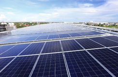 Solar PV Rooftop System. On a warehouse roof royalty free stock image