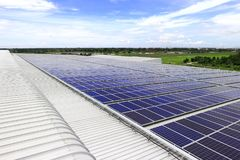 Solar PV Rooftop under Blue Sky Stock Images