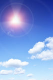 Solar radiation. Sun with beams looking as danger radiation sign royalty free stock photography
