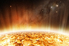 Solar radiations on the surface of the star Stock Images