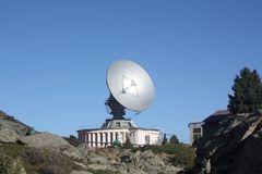 Solar radio telescope in the mountains royalty free stock images