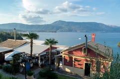 Solar, residência, casa de campo, café, em Corfu foto de stock