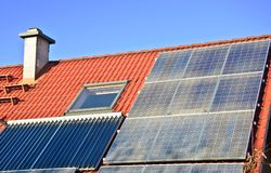 Solar roof. House roof with solar panels royalty free stock photography