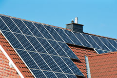 Solar roof on a single house Royalty Free Stock Photo