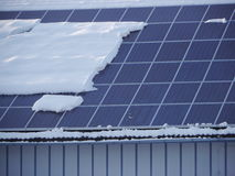 Solar roof with snow Stock Image