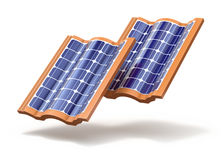 Solar roof tiles concept Royalty Free Stock Photo
