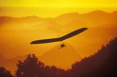 Solar Sailing Hang Gliding. In sunset silhouette, Malibu, CA Stock Image