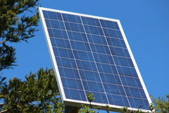 Solar sell. And blue sky in forest Stock Photo