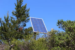 Solar sell. And blue sky in forest Stock Images