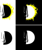 Solar shade. Sun eclipse, night and day, sun beams, moon light Royalty Free Stock Image