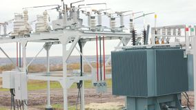 Solar Station Equipment. A transformer at a power plant, a transformer at a solar power station.