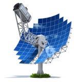 Solar stirling engine. With parabolic mirror on white background - 3D illustration Stock Photos