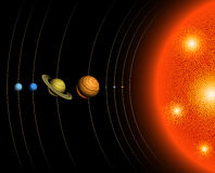 Solar System. Vector illustration of the Solar System, including the Sun and nine planets Stock Photography