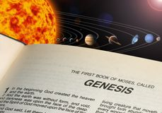 Solar system. An illustration of our solar system. and Bible book Genesis royalty free stock photography