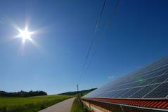 Solar system. View of a polycristalline silicium solar pannel Stock Photos