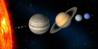 Solar system. Planets and sun from our solar system. Digital illustration stock illustration