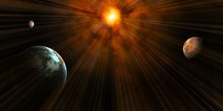 A Solar System. With a view consisting of 3 planets and a radiant star Royalty Free Stock Photos