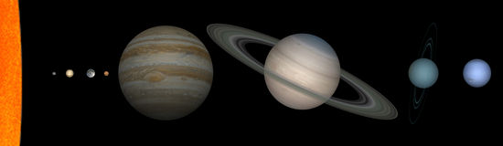 Solar system. The system solar planets with respected size Royalty Free Stock Photo