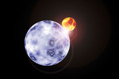 Solar System. A blue planet orbits a sun in a graphically rendered picture royalty free stock image