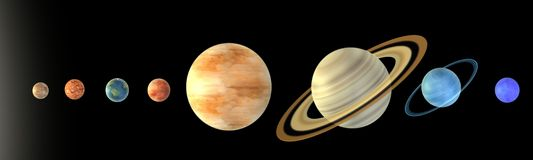 Solar system -8 planets Royalty Free Stock Photography
