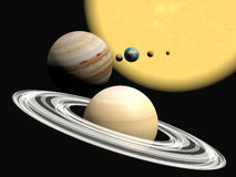 The solar system, abstact presentation. Royalty Free Stock Image