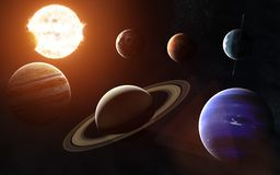 Solar system. All planets on one side of the Sun. Elements of the image are furnished by NASA. Solar system. All planets on one side of the Sun. Image in 5K for Stock Photo