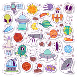 Solar system astronomy icons stickers vector set. Solar system astronomy icons stickers set. Cute cartoon planets and sun stickers for kids. Astronomy education stock illustration