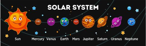 Solar system planets with funny faces out in space. Solar system with bright happy Sun, funny Mercury, charming Venus, positive Earth, angry Mars, surprised Stock Images