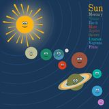 Solar system in cartoon style Royalty Free Stock Images