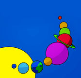 The solar system. Colorful simple illustration of the planets of the solar system Royalty Free Stock Photography