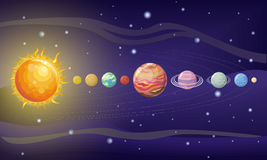 Solar System Design. Space with Planets and Stars Royalty Free Stock Photography