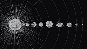 Solar system in dotwork style. planets in orbit. vintage hand drawn illustration Royalty Free Stock Images