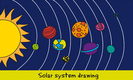 Solar system drawing Royalty Free Stock Image