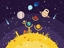Solar system flat style Royalty Free Stock Images